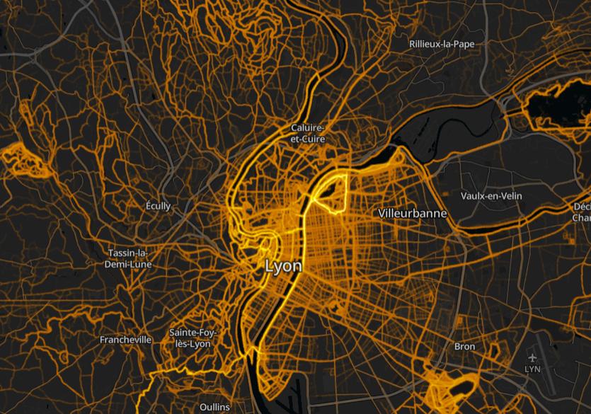 Heatmap running de la région lyon